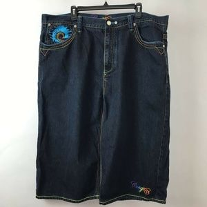 COOGI Denim Jeans Shorts Blue Embroidered Sz 44